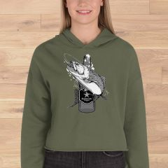 Fishing and Beer Logo, Cropped Fleece Lined Hoodie, Olive, NEW!