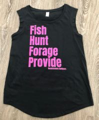 Fish, Hunt, Forage, Provide: Relaxed Fit Cap Sleeve T Shirt, NEW!