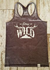 Stay Wild, Sporty Racerback Tank, ON SALE, Color: Driftwood