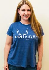 PROVIDER™ Hunting Logo T shirt, Relaxed/Loose Fit Crewneck, Heather Blue