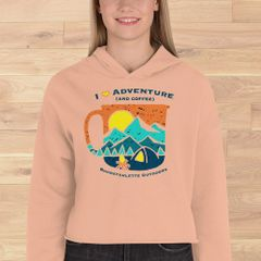 I Love Adventure and Coffee, Cropped Fleece Hoodie, Peach or Black, NEW!