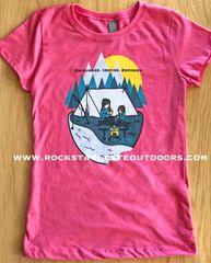 Youth Camping Logo T shirt, Teal or Pink, NEW! Girls Sizing, Princess T, Mother/Daughter Camping Logo