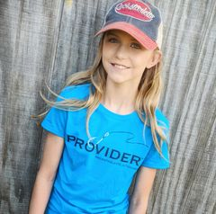 Youth PROVIDER™ T Shirt, Fishing Logo, Hot Pink or Blue, Girls Sizes, NEW!