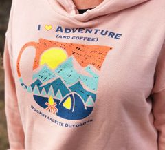 I Love Adventure (and Coffee), Cropped Fleece Hoodie, Peach, NEW!