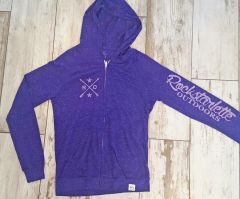 Lightweight Zip Hoodie, SALE $18 OFF, Rockstarlette Outdoors Logo, Purple Heathered