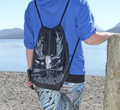 Tote Bag: Drawstring, Rockstarlette Outdoors Original Moose Logo