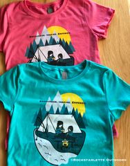 Youth Camping Logo T shirt, Teal or Pink, ON SALE! Girls Sizing 3-16, Princess T, Mother/Daughter Camping Logo