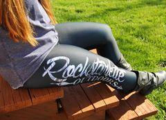 Logo Leggings, Black with Snow Birch Camo, Rockstarlette Outdoors