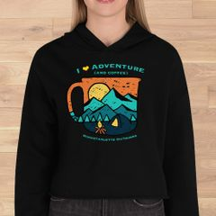 I Love Adventure (and Coffee), Cropped Fleece Hoodie, Black, NEW!