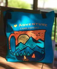 Tote Bag: I Love Adventure (and Coffee) Teal, NEW!