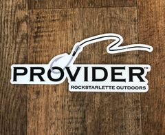 PROVIDER Extra Large Fishing Logo Stickers, White Background 10 x 4 Inch, High Quality and Durable