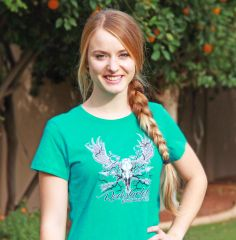 SALE $15 OFF, Teal or Grey Rockstarlette Bowhunting Moose Logo T Shirt, Clearance