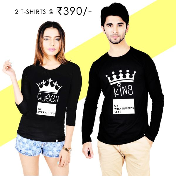 KING QUEEN Couple T-shirt Black Full Sleeves  64b9883c408a