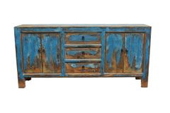 Rustic Side Cabinet - Blue Patina