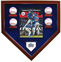 2016 World Series Champion Chicago Cubs 4 Baseballs Display Case