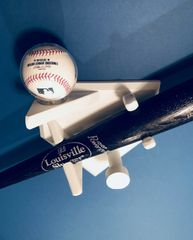 Homeplate shaped Baseball Bat Rack with ball and hat or jersey hook