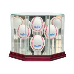 Octagon 4 Baseball Glass Display Case