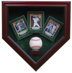 One Baseball and Three Card Display Case Shadow Box