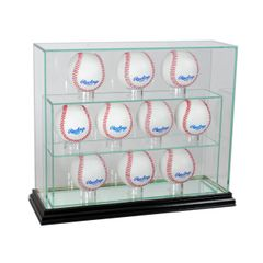 Upright 10 Baseball UV Blocking Glass Display Case