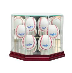 Octagon 6 Baseball Glass Display Case