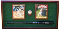 Baseball Bat, 1 Baseball, and 2 Photo Frames Display Case