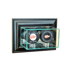 Wall Mount Double Puck Glass Display Case