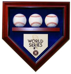 2017 World Series Champion Houston Astros 3 Baseballs Display Case