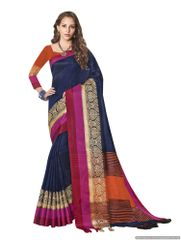 Solid Border Blue Cotton Silk Saree