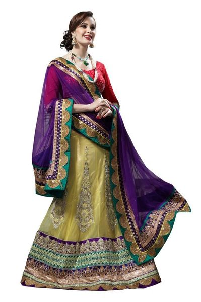 Purple Lemon Yellow Net Lehenga Choli Dupatta Fabric Only LC180