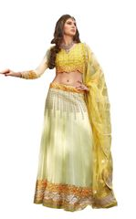 Cream Yellow Georgette Lehenga Choli Dupatta Fabric Only SC1123