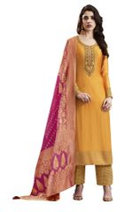 Designer Orange Slub Silk Semi Stitched Dress Material SC3069