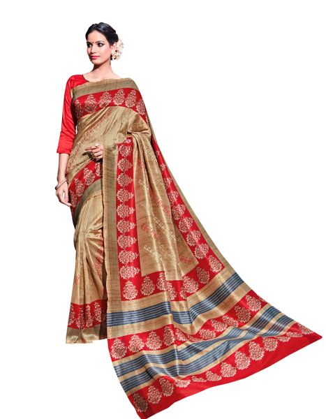 Brown Printed Soft Embroidered Thappa Silk Saree SC30234