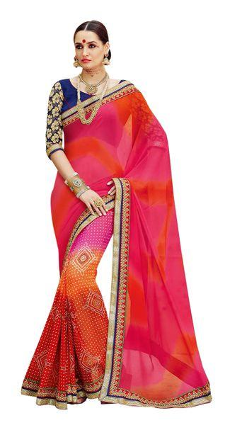 Designer Pink Bandhej Print Embellished Georgette Saree K3202