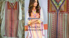 Designer Semi Stitched Off White Pakistani Embroidered Kurti Kurta Tunic PK10