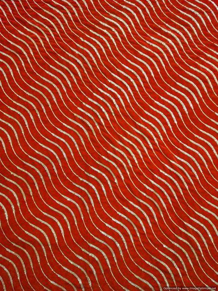 Designer Velvet Maroon Golden Sequin Wave Stripe Embroidered for Blouse, Crop Top , Kurti cut 3 meter ( 302 cms )