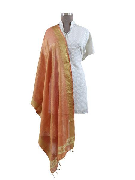 Handloom Tissue Linen Solid Peach Dupatta BLD01