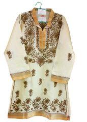 Yellow Chanderi Cotton Chikankari Lucknowi Kurta