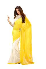 Off white georgette Saree with exclusive blouse fabric SC10004