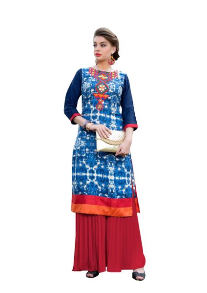 Designer Rayon Cotton Blue Embroidered Long Kurta Kurti Size XL SCKS103