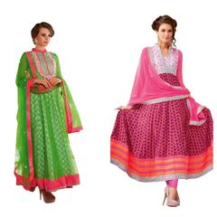Designer Cotton Net Semi Stitch Embroidered Dress Material Combo Set of Two