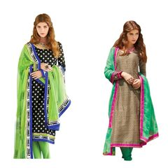 Designer Bhagalpuri Embroidered Dress Material Combo Set of Two
