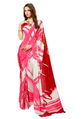 Pink Abstract Printed Crepe Saree