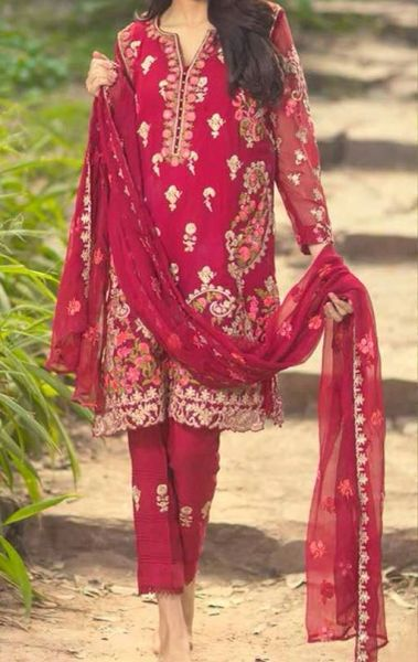 Designer Replica Mina Hasan Red Georgette Embroidered Dress Material Mina6