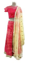 Pure Khaddi Georgette Lehenga Choli with Net Silk Blouse and Embroidered Dupatta ALC08