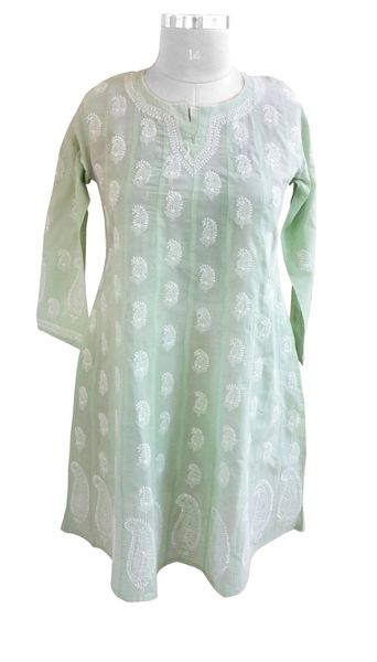 Green cotton Chikankari Lucknowi Kurta