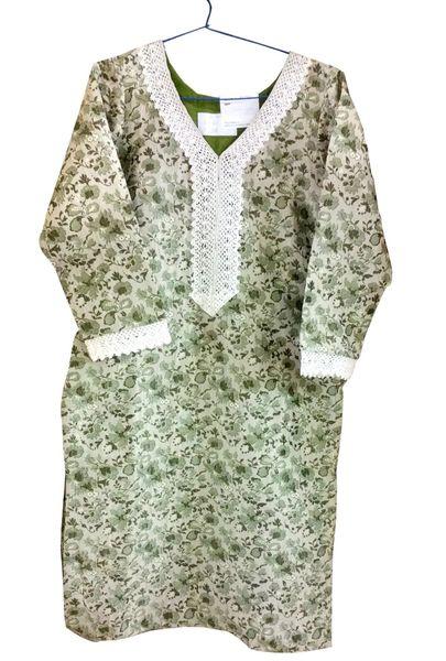 Light Green Cotton Banarsi Jequard Kurta