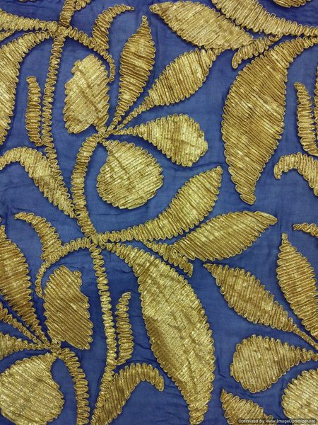 Designer Georgette Navy Blue Gotta Embroidered Fabric for Blouse Crop top Pre Cut 1.9 Meter (198 Cms)