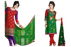Chanderi Cotton Embroidered Dress Material Combo Set of Two