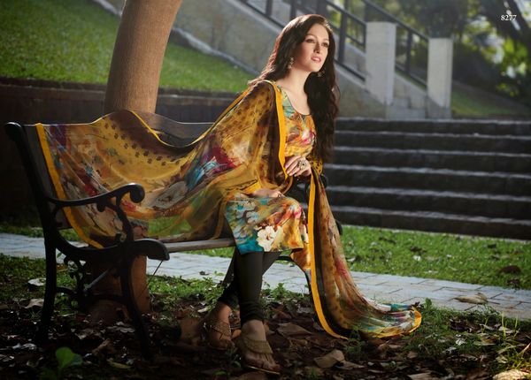 Designer Satin Cotton Brown Printed Dress Material With Chiffon Dupatta SC8277
