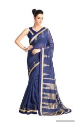 Designer Blue Handloom Silk Light Embellished Saree SCMIS08